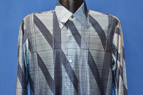 70s Blue Geometric Patterned Disco Shirt Medium