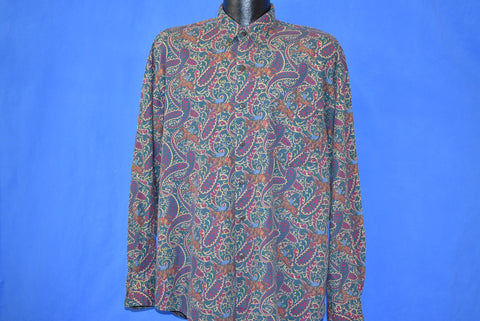 90s Gap Equestrian Paisley Button Down Shirt Large