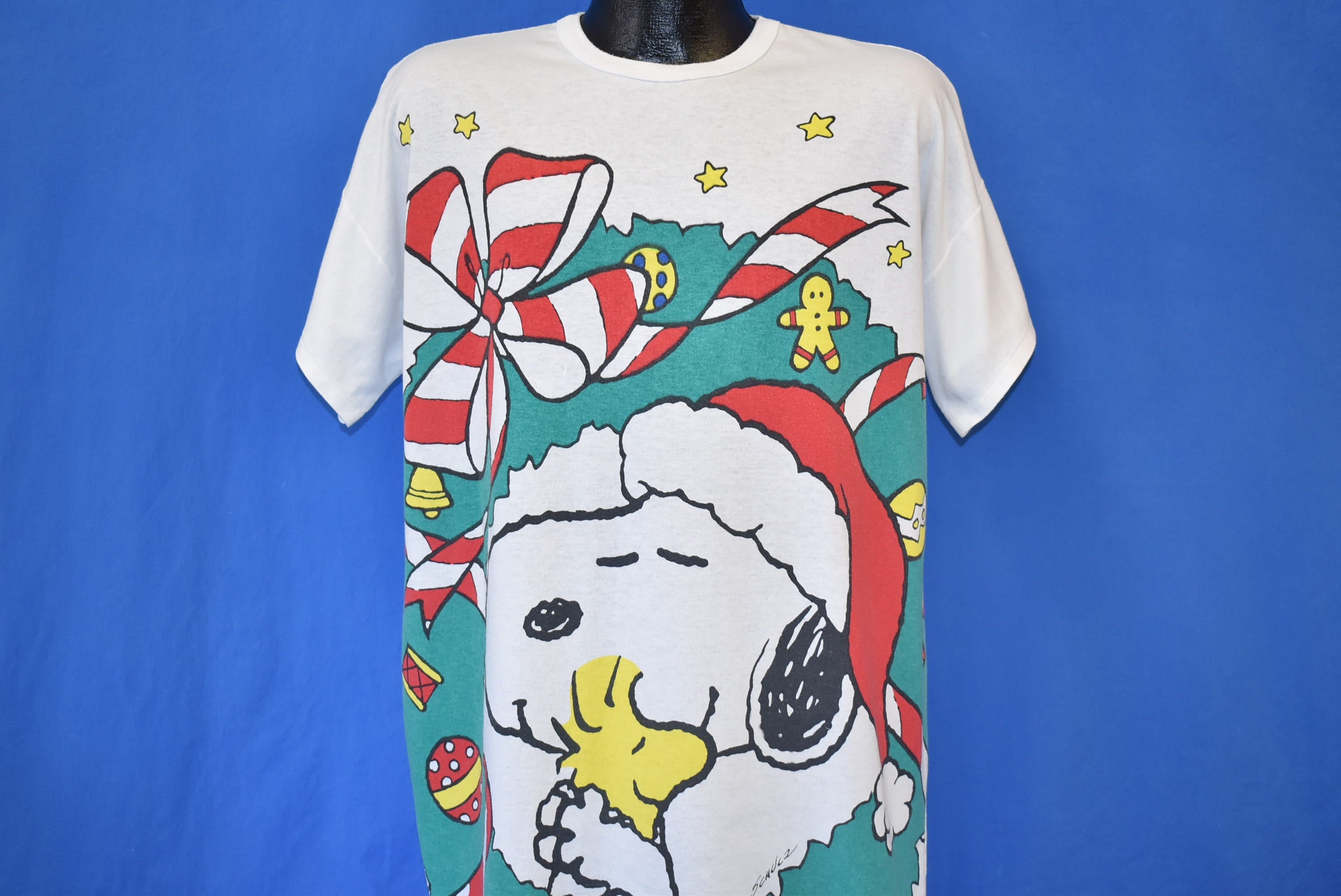 Snoopy And Woodstock Christmas.90s Snoopy Woodstock Christmas Sleep T Shirt Extra Large