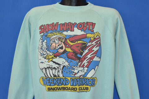 80s Snow Way Out Weekend Warrior Sweatshirt Large