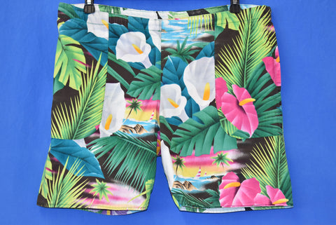 90s Hawaiian Floral Print Reversible Shorts Small