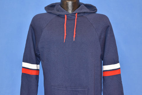 80s Blue Red And White Hooded Raglan Sweatshirt Medium