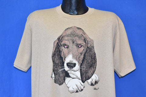 80s Basset Hound Puppy Dog t-shirt Large