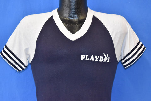80s Playboy Magazine V Neck Jersey Ringer t-shirt Extra Small
