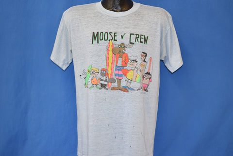 80s Rocky and Bullwinkle N' Crew Beach Distressed t-shirt Large