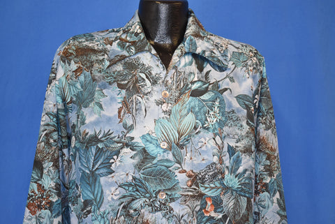 70s Spire Foliage Floral Disco Shirt Large