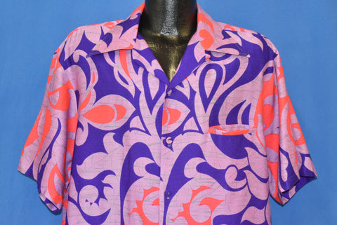 60s Iolani Floral Psychedelic Hawaiian Shirt Extra Large
