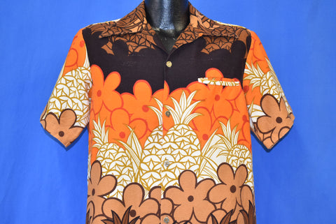 70s Diamond Head Pineapple Aloha Hawaiian Shirt Medium