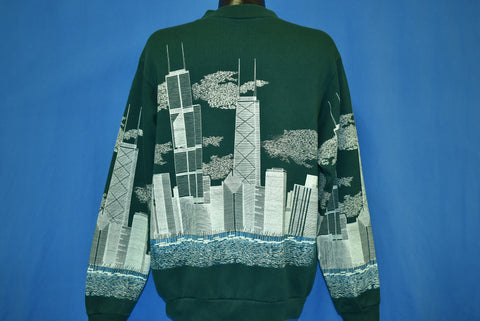 90s Chicago City Skyline All Over Print Sweatshirt Extra Large