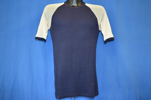 70s Navy Blue Mesh Sleeves Blank t-shirt Small