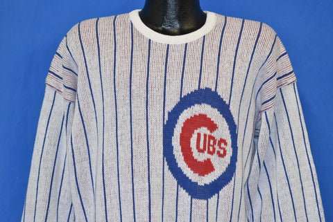 80s Chicago Cubs Pinstripe Cliff Engle Sweater Large