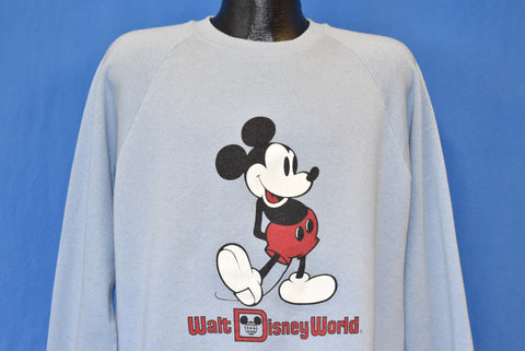 80s Mickey Mouse Raglan Sweatshirt Large