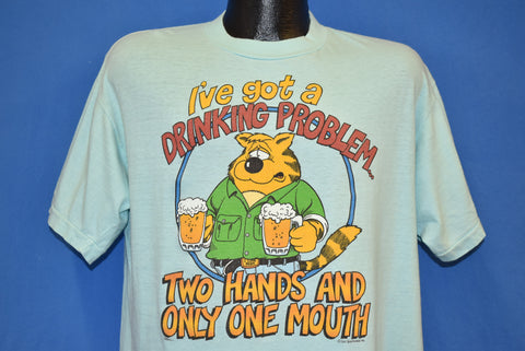 80s Drinking Problem Funny Cartoon t-shirt Extra Large