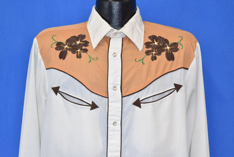 80s Flowered Embroidered Western Pearl Snap Shirt Large