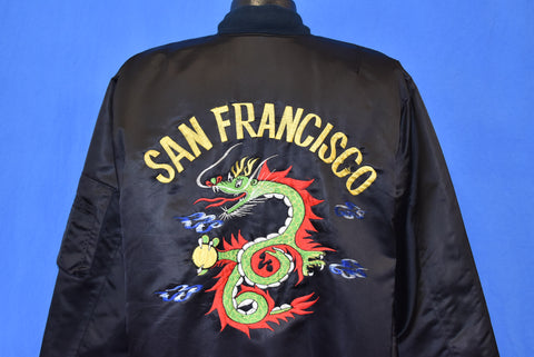 80s San Francisco Chinese Dragon Satin Bomber Jacket Extra Large