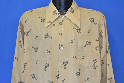 70s Kmart Geometric Abstract Brown Button Shirt Large