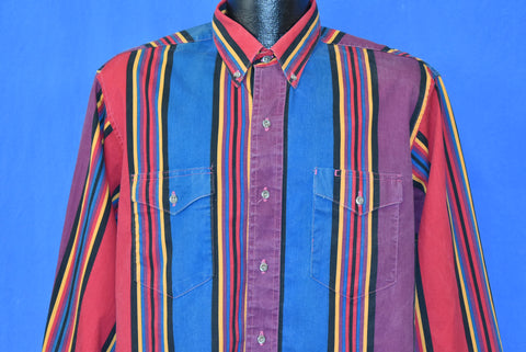 90s Wrangler Multi-color Blue Yellow Western Button Shirt Large