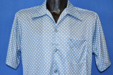 70s Polka Dot Blue White Short Sleeve Disco Shirt Medium