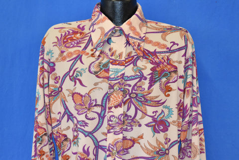 70s Asian Print Floral Purple Bird Disco Shirt Large