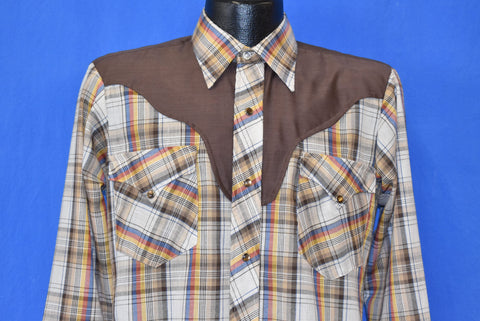 70s Plaid Western Pearl Snap Brown Yoke Cowboy Shirt Small