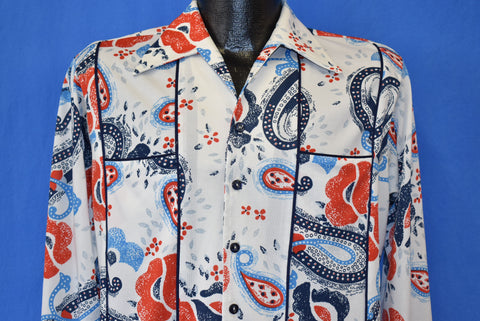 70s Paisley Red and Blue Big Collar Disco Shirt Medium