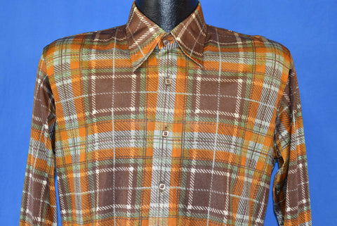 70s Sears Plaid Square Button Brown Orange Disco Shirt Medium