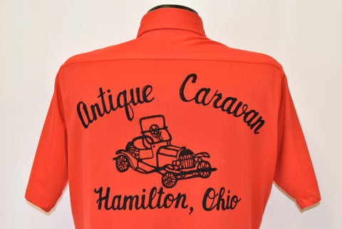 70s Antique Caravan Car Hamilton Ohio Red Disco Shirt Medium