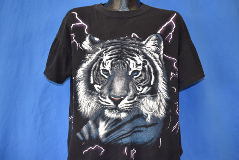 90s White Tiger Lightning Oversized t-shirt Large