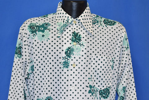 70s Floral White Green Polka Dots Disco Shirt Large