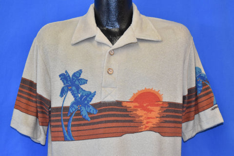 70s Hang Ten Palm Tree Sunset Terrycloth Polo Shirt Large