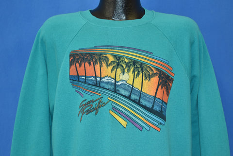 80s Sun Pacific Beach Sunset Palm Trees Sweatshirt Extra Large