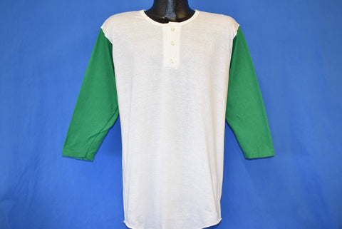 70s Russel Athletic Henley White Green Blank Jersey t-shirt Large