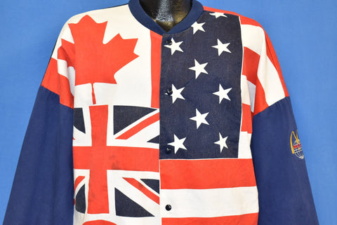 90s Flags American British Canadian All Over Print Jacket Large