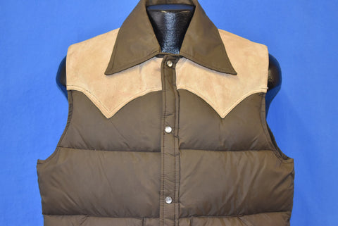 80s Woolrich Brown Leather Western Pearl Snap Ski Vest Large