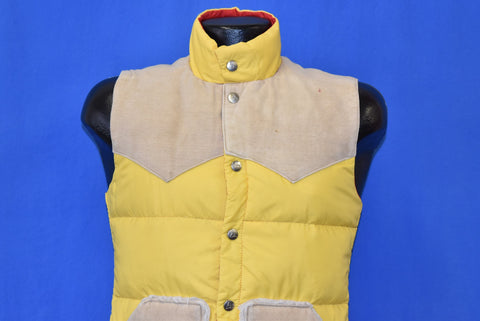 70s Gerry G Yellow Western Yolk Puffy Ski Vest Extra Small