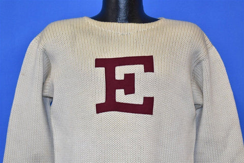 40s E A Varsity College University Boat Neck Sweater Medium