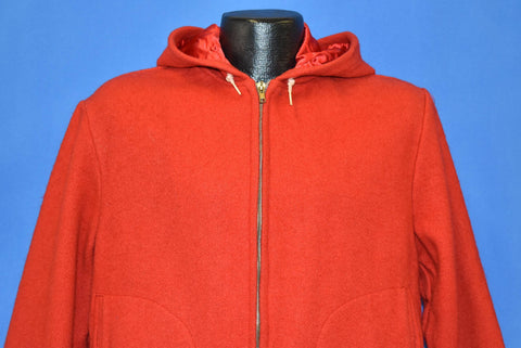 50s Igloo Red Wool Hooded Zipper Front Jacket Medium