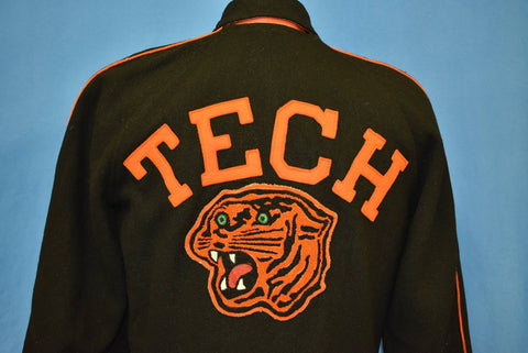 50s Tiger Tech Black Wool Letterman Jacket Small