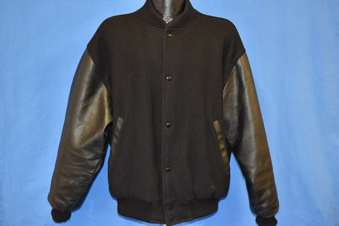 90s A Current Affair TV Show Wool Leather Letterman Jacket Large
