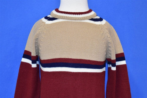 70s Brown Maroon Striped Acrylic Sweater Toddler 2T
