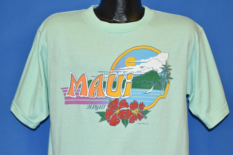 80s Maui Hawaii Poly Tees Sunset Hibiscus t-shirt Large
