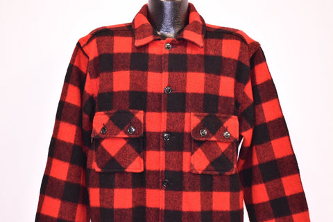 50s Fashion Wagon Red Plaid Buffalo Check Wool Shirt Large