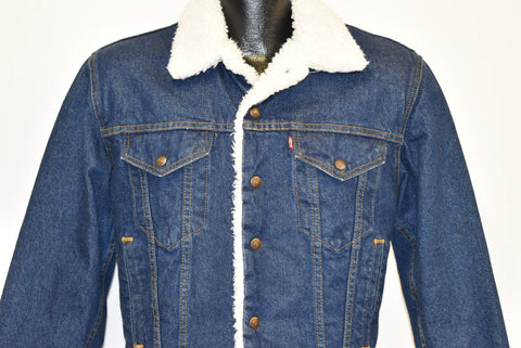 80s Levis Denim Sherpa Lined Trucker Type 3 Jacket Small