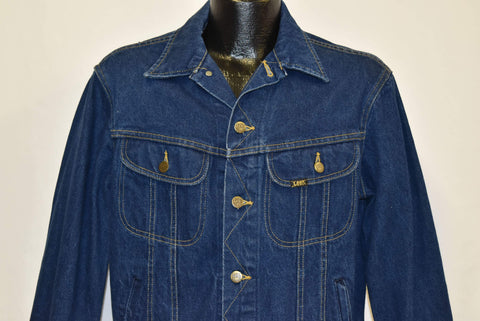 80s Lee 101 Dark Denim Slant Pocket Jacket Medium