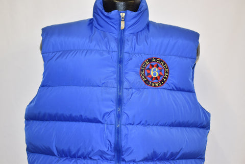 80s North Face Police Academy 1988 Blue Puffy Ski Vest Large