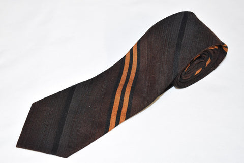 50s Brown Black Orange Striped Polyester Necktie
