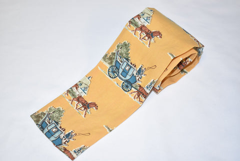 50s Yellow Horse and Carriage Rooster Necktie