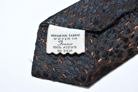 60s Black Brown Jacquard Spotted Skinny Necktie
