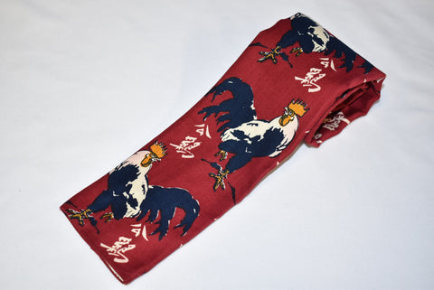 50s Red Rooster Motif Japanese Square Bottom Necktie