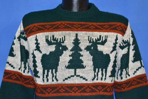 80s JC Penney Reindeer Green Red White Sweater Small